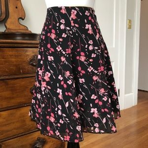 Express Floral Flared Skirt, Size 1/2